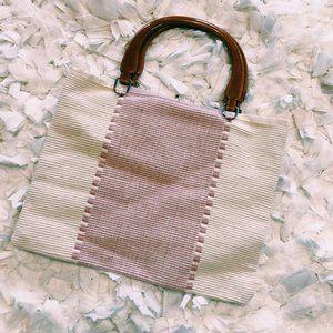 Vintage Bags - Vintage Pink & White Tote Style Acrylic Handle Bag